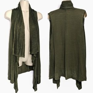 Cable & Gauge Olive Lightweight Waterfall Vest XL